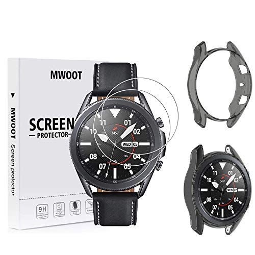 MWOOT Compatibile con Samsung Galaxy Watch 3 45MM Pellicole Vetro Temperato [2 Pezzi ] e Custodie Silicone [Clear Nero], 9H Pellicole Protettive per Protezione Schermo Samsung Watch3 SM-R840 R845