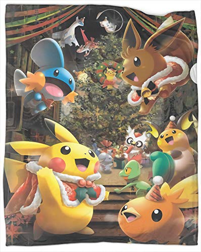 Pokemon Animation Manta suave, cálida, elegante, acogedora para el hogar, suave, mullida, cálida, acogedora, perfecta para cama, sofá, silla, tamaño completo de 70 pulgadas x 90 pulgadas