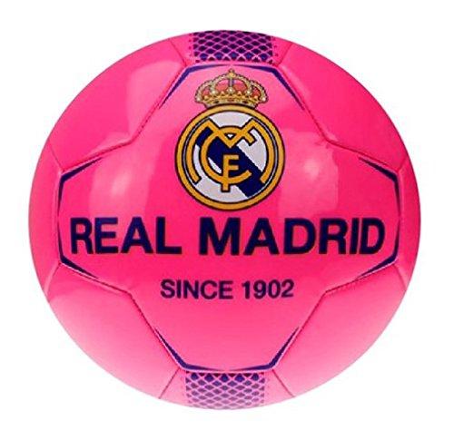 Real Madrid–de balón de fútbol de Real Madrid tamaño mediano, color rosa fluorescente