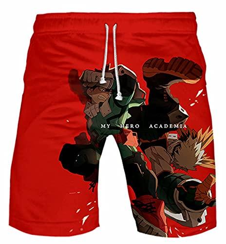 Giron My Hero Academia 3D Impreso Pantalones Cortos Verano Casual Boku No Héroe Deku Cosplay Cortos Anime Katsuki Bakugou Shoto Cordón Ropa Deportiva Pantalones de Entrenamiento