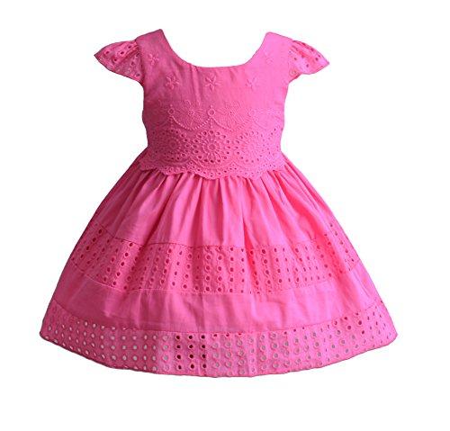 Cinda Fête d'été bébé Filles Court à Manches Coton Robe Fuchsia 6-9 Mois