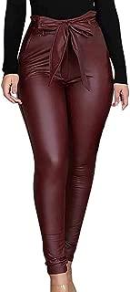 hirigin Women Leggings Leather High Waist Skinny Snake Pattern Trousers with Bowknot Belt