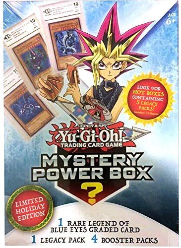 Yu-Gi-Oh! Trading Cards 2018 Holiday Mystery Box- Featuring Legend of Blue Eyes White Dragon | Factory Sealed Packs | Hot Box with Vintage Card 1:5, Multicolor