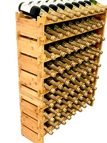 DECOMIL 72 Bottle Stackable Modular Wine Rack Wine Storage Rack Solid Bamboo Wine Holder Display Shelves, Wobble-Free (Eight-Tier, 72 Bottle Capacity)