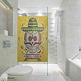 Película de cristal de ventana estática 3D, Día de los Muertos, calavera mexicana de azúcar con tacos y chile N, sala de estar, dormitorio, cocina, vestíbulo, porche, oficina, 45 x 199 cm