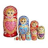 zdz Matryoshka de Juguete para niños, Conjunto de Madera de 7,9 Pulgadas de 9,9 Pulgadas de 10 muñecas de anidación Rusas, para Navidad, Regalo de cumpleaños (Color : Red)
