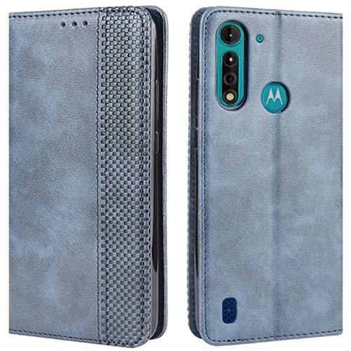 HualuBro Handyhülle für Motorola Moto G8 Power Lite Hülle, Retro Leder Stoßfest Klapphülle Schutzhülle Handytasche LederHülle Flip Hülle Cover für Motorola Moto G8 Power Lite Tasche, Blau