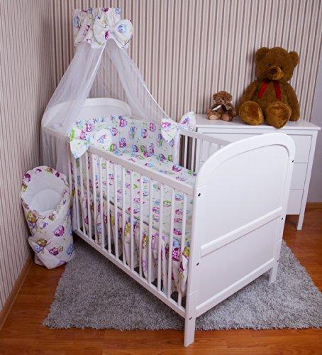 Amilian® Baby Bettwäsche 5tlg Bettset mit Nestchen Kinderbettwäsche Himmel 100x135cm NEU Eule Weiß Chiffonhimmel