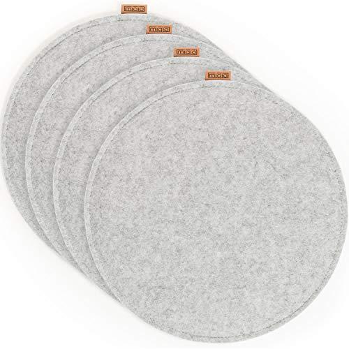 Miqio® Design Sitzkissen aus Filz mit Echtleder Elementen | rutschfest | rund | hellgrau 4er Set