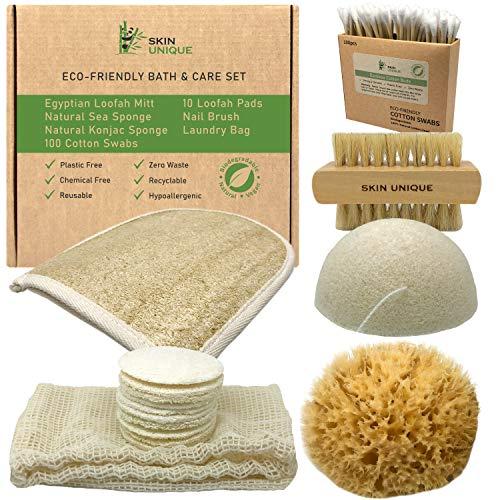 Eco Friendly Bath & Care Set with Natural Sea Sponge, Egyptian Loofah Mitt, Konjac Sponge, Makeup Remover Pads, Laundry Bag, Bamboo Cotton Swabs & Nail Brush - Zero Waste & Biodegradable Gift Set