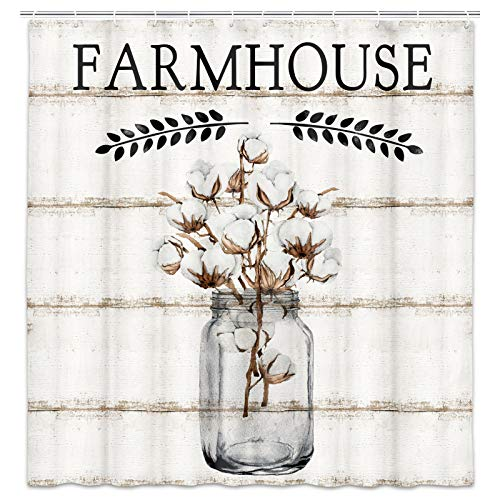 Farmhouse Shower Curtain, Farm Cotton Flower in Jar with Peace Branch on Country Rustic Wooden Plank Fabric Shower Curtain Set, Bathroom Accessories Decor, Hooks Included (69W X 72H)