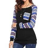 Lavany Women's Tops Long Sleeve Print Pocket Blouse Patchwork Clothes for Women (M, Black)