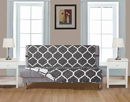 """GrandLinen Reversible Couch Cover 110"""" X 76""""-Furniture Protector for Pets, Kids, Dogs-Large Sofa, Standard Sofa, Loveseat, Futon Recliner and Arm Chair (FUTON-Grey/White Quatrefoil)"""
