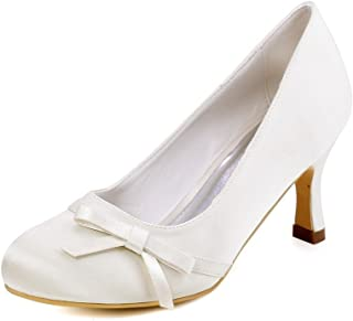 205c1006580a4c ElegantPark A0756 Femme Bout Rond Noeud a deux boucle Talon Satin Escarpins  Chaussures De Mariage Mariee