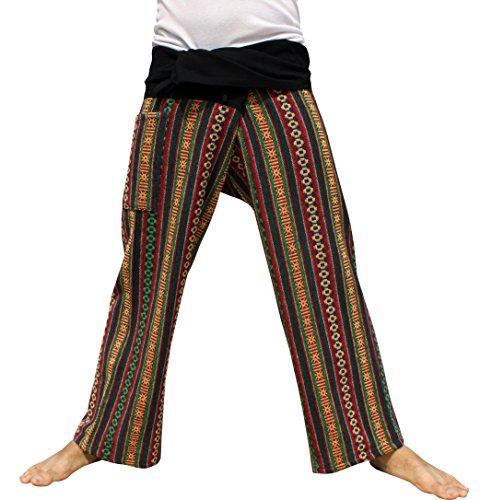 RaanPahMuang Thick Thread Machine Woven Cotton Thai Fisherman Wrap Pants Tall, Small, Green Mix