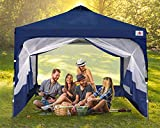 ABCCANOPY Pop Up Canopy with Mesh Mosquito Netting Wall, Camping Screen Houses Screen Rooms, Instant Canopy Tent, Navy Blue