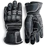 Pre-Weathered Premium Leather Motorcycle Gloves (Black) Knuckle Protection with...