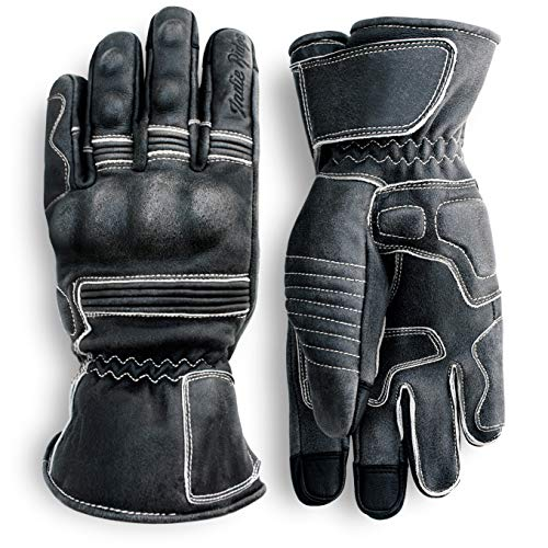 Pre-Weathered Premium Leather Motorcycle Gloves (Black) Cool,...