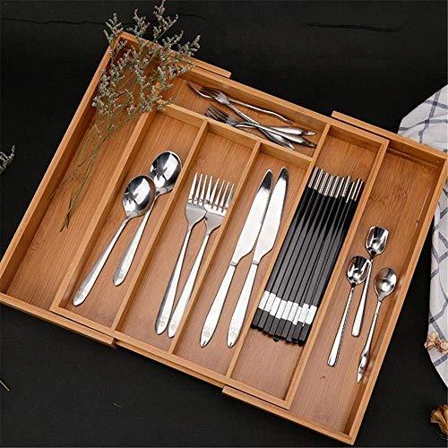 1PC kuchnia rozszerzalny pojemnik na sztućce bambusowy organizer do szuflady taca na sztućce wielofunkcyjny pojemnik do przechowywania szuflady