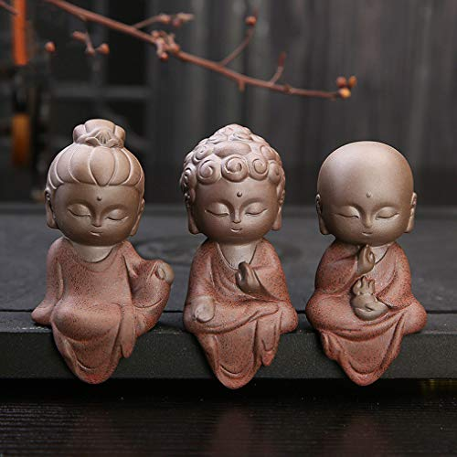 SANOMY Ceramic Klin Monk Buddha Statues Buddhist Sculptures Cute Budha Home Garden Decoration Table Ornaments