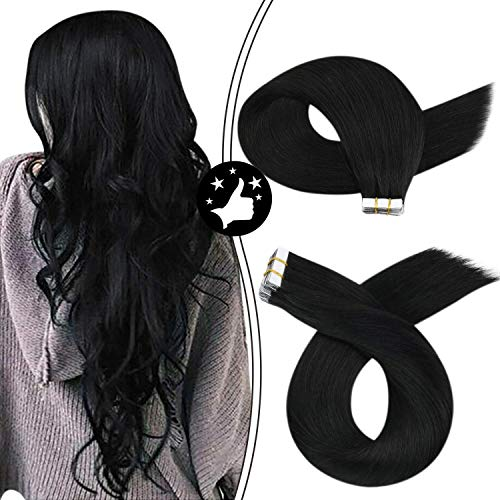 【Buy 2 Saving 6%】Moresoo 24 Inch Tape in Hair Extensions 100% Remy Human Soft and Thick Invisible Glue in Hair Jet Black Color #1 Remy Hair 20pcs/50g Tape on Extensions
