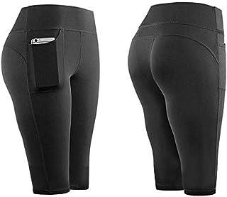 Mujer Leggins Cintura Alta Pantalones Cortos Short Deportivo con Bolsillos Fitness Yoga Mallas Push Up Leggings para Gym Workout Correr S-XL Dear-XiaoBao
