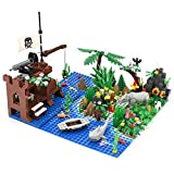 Yamix Pirate Island Building Block Parts Rainforest Plants Trees Flowers Scenery Animals Building Bricks Toy Set with Base Plates Compatible with All Major Brands