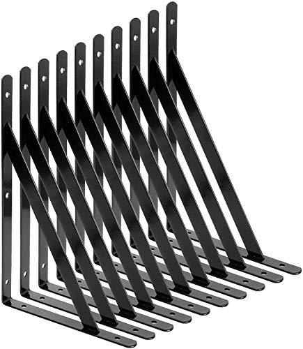 STARVAST Equerre Etagere Murale, 10 Pcs Supports Triangulaires de 90 Degrés en Acier, Équerres Étagères 250mm x 160mm, Support d'angle Brace avec 50 pcs Vis et 20 pcs Ancres (Noir)