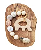 Natural Wooden Teething Toy Interchangeable Pacifier Holder Strap Beaded Clip Neutral baby