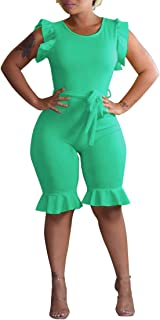 Mintsnow Sexy Jumpsuit for Women Summer Bodycon Capri Short Romper with Belt Green XL