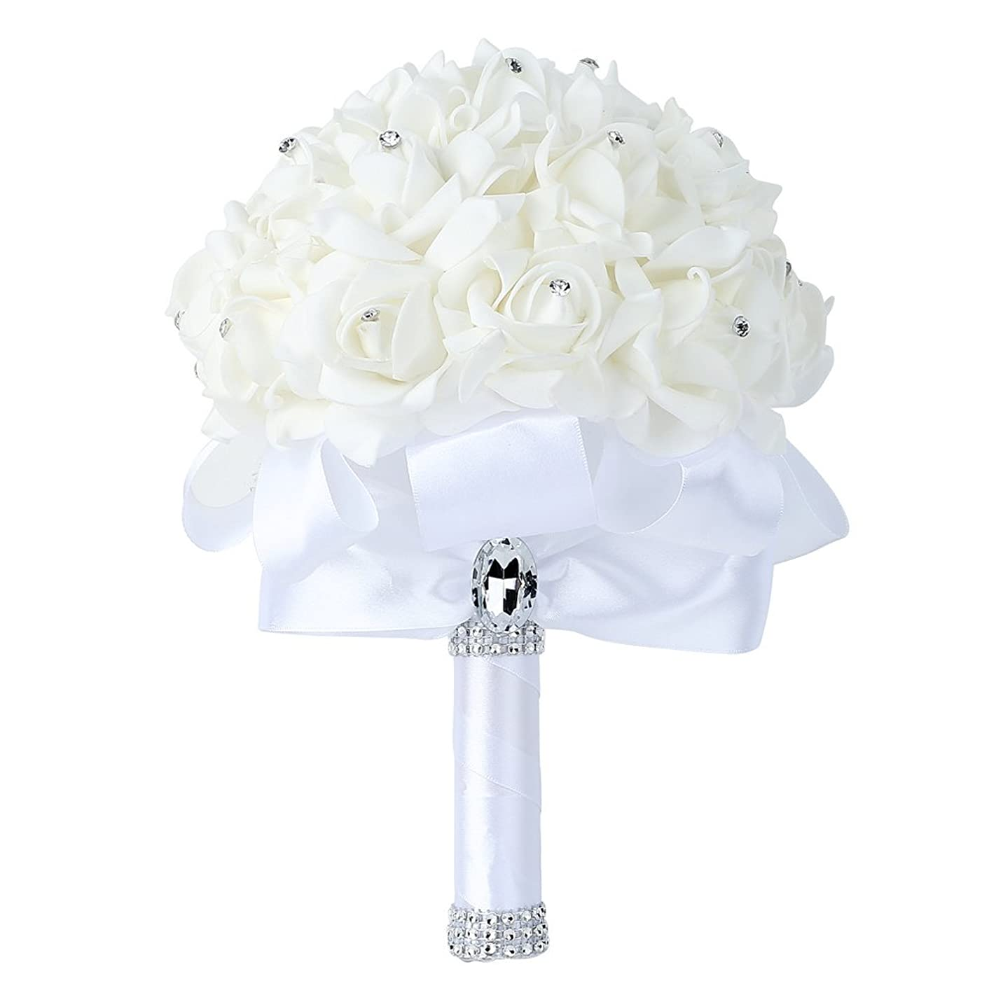 Febou Wedding Bouquet, Big Size White Bridesmaid Bouquet Bridal Bouquet with Crystals Soft Ribbons, Artificial Rose Flowers for Wedding, Party and Church White Big Size