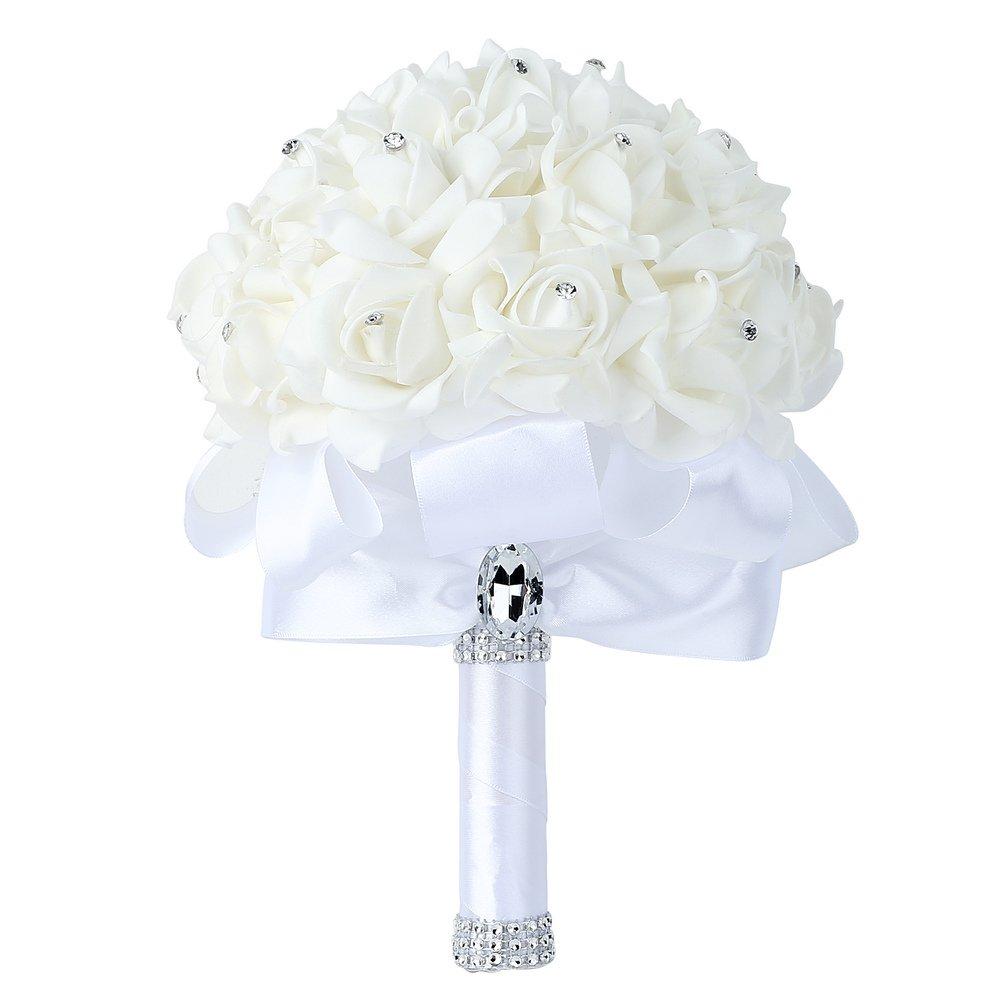Febou Wedding Bouquet Big Size White Bridesmaid Bouquet Bridal