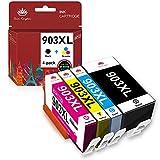 Tong Kingdom 903XL Puce Mise à Jour Compatible avec HP 903XL 903 XL Cartouche d'encre pour HP Officejet Pro 6950 6960 6970 All-in-One Imprimante (1 Noir / 1 Cyan / 1 Magenta / 1 Jaune, Paquet de 4)
