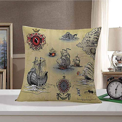 Compass Decor Decorative Square Throw Pillow Cases Antique Old Plan Discovery Ship Pirate Wave Compass Navigation Geography Theme Image Protectors Cushion Covers For Sofa Beige Red Grey 18' X 18'(IN)