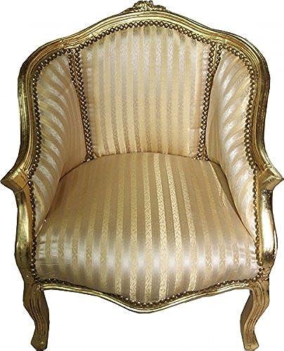 Casa Padrino Barock Damen Salon Sessel Gold Streifen Gold - M l Antik Stil