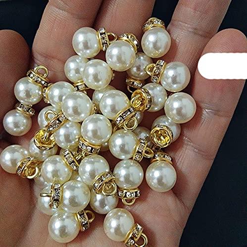 20 cuentas redondas de perlas blancas de costura en forma de lágrima de perlas de decoración de pulseras colgantes para ropa, joyería de oro, mezcla