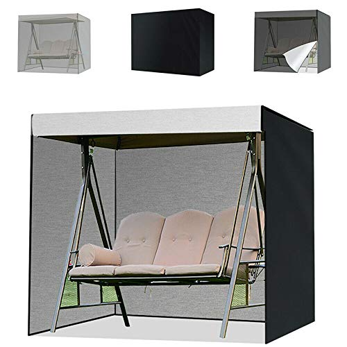 Vtops Swing Cover, Garden Swing Cover, Waterproof 3 Seater Patio Swing Chair Seat Cover Sunscreen Cover 210D Oxford Garden Hammock Protective Cover - Black