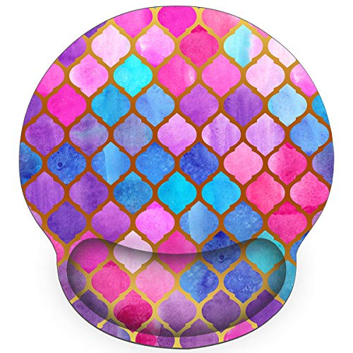 Britimes Ergonomic Mouse Pad with Wrist Support Pink Watercolor Mermaid Scales Non-Slip Rubber Base Mousepad for Home Office Gaming Working Computers Laptop Easy Typing & Pain Relief