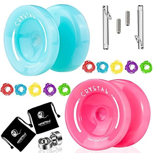 MAGICYOYO Responsive Yoyo K2, 2 pezzi YoYo professionale per bambini principianti, cuscinetti Yoyo di ricambio per giocatori avanzati + strumento di rimozione + 2 borse + 10 corde Yoyo (blu e rosa)