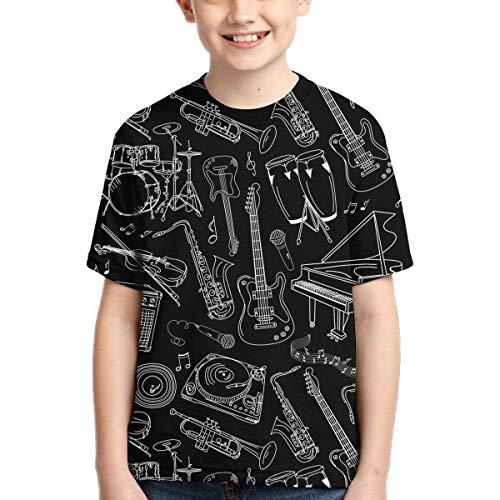 RIPO - Camiseta de Manga Corta para niños, Instrumento Musical, Guitarra y bajo, para niños y niñas Negro Negro (XS