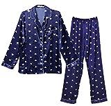レディース パジャマ 長袖 ルームウェア ポケット付 100%綿 上下セット 寝間着 カジュアル 部屋着 肌触り良い (XL, Type-02)