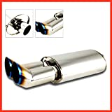 Dual Muffler Exhaust Pipe 3' DTM Style Stainless Steel Burnt Tip Weld-On 2.5' Inlet - House Deals