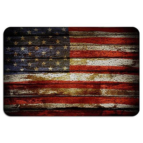 Retro Bandera Americana Franja Día de la Independencia Frente Felpudo Alambre de PVC Alfombra de entrada Duradera antideslizante Lavable Zapatos de alfombra Raspador Corredor de área para la cocina de