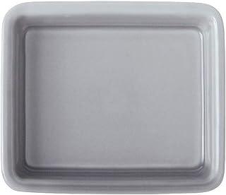 [電子 レンジ 対応 波佐見焼 h+ スクエア プレート] おしゃれ 皿 四角 磁器 陶器 食器 プレート シンプル 無地 日本製 (グレー)