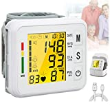 Blood Pressure Monitor,Digital BP Cuff Wrist Blood Pressure Cuff Monitor Automatic Large Backlight Display Rechargeable Wrist Blood Pressure Monitor Pulse Rate Monitoring Meter BP Machine for Home Use