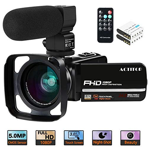 Video Camera, ACTITOP Camcorder FHD 1080P 24MP IR Night Vision 3' LCD Touch...