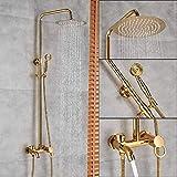 DAMO&GUYAN Panel Ducha, Grifos mezcladores de Ducha de baño Dorados, Pared 8 ''Set de Grifo para Ducha de baño Tipo Lluvia, con caño de Ducha Manual,Color Dorado Tipo B