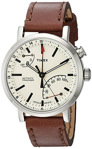 Timex Unisex TW2P92400 Metropolitan+ Brown Stitched Leather Strap Smartwatch (Best Mobile Tracker App In India)