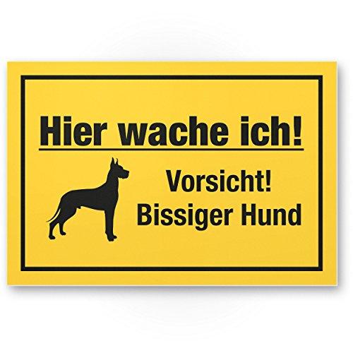 Hier wache ich Vorsicht bissiger Hund - Hunde Kunststoff Schild, Hinweisschild Gartentor/Gartenzaun - Türschild Haustüre, Warnschild Abschreckung/Einbruchschutz - Achtung Hund