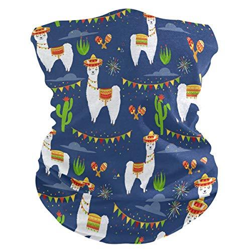 DOSHINE Bandana Gesichtsmaske Mexikanisches Tier Lama Alpaka Kaktus Kopfbedeckung Multifunktionale Sturmhaube Stirnband Magischer Schal Halswärmer Gesichtsschutz für Radfahren Staub Outdoor Sport
